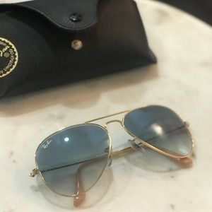 Ray ban aviators in blue/gold gradient